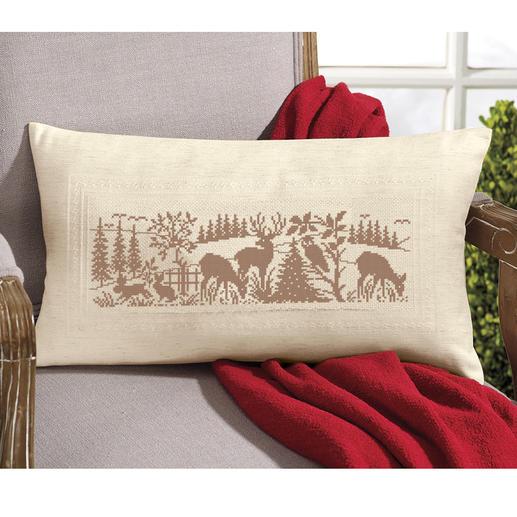 Kreuzstichkissen - Tiere im Wald