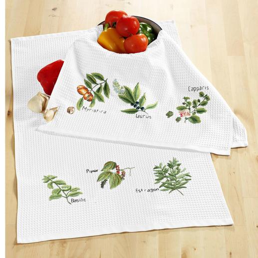 2 Waffelpiqué-Geschirrtücher im Set - Kräuter