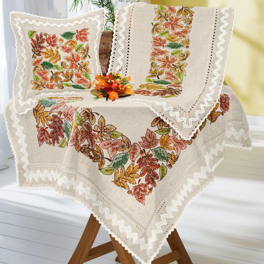 Tischwäsche oder Kissen mit Makramee-Spitze - Herbstblätter-Bordüre