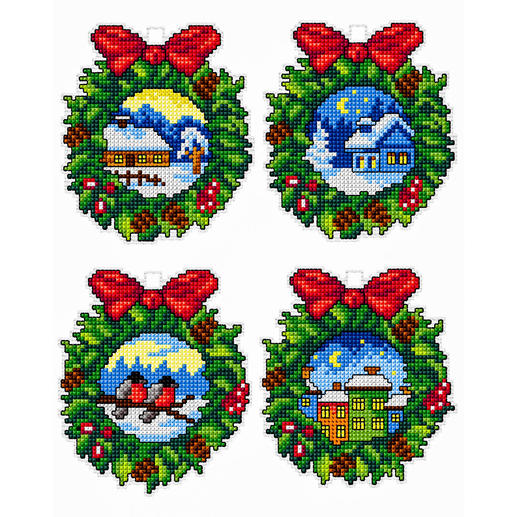 4 Weihnachtsanhänger im Set - Kränze