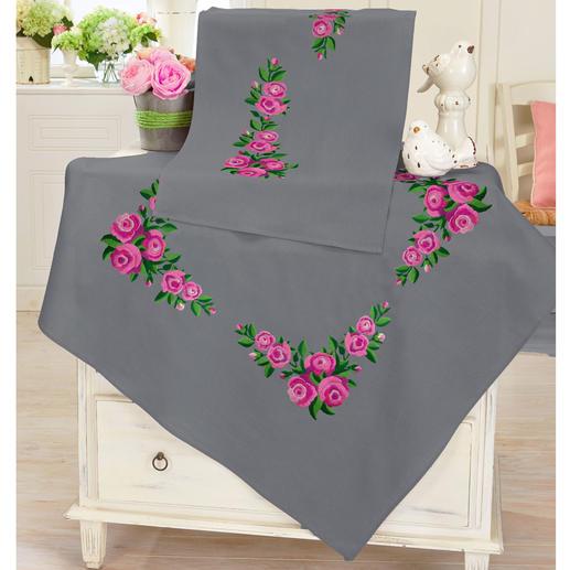 Tischwäsche - Pinke Rosen