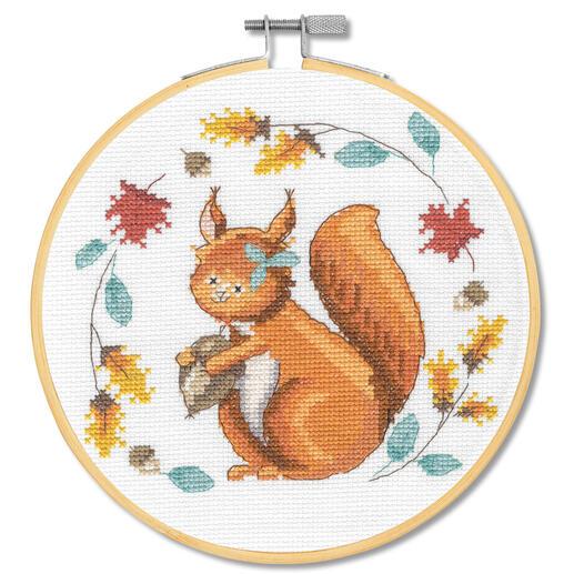 Stickbild - Folk Art Eichhörnchen