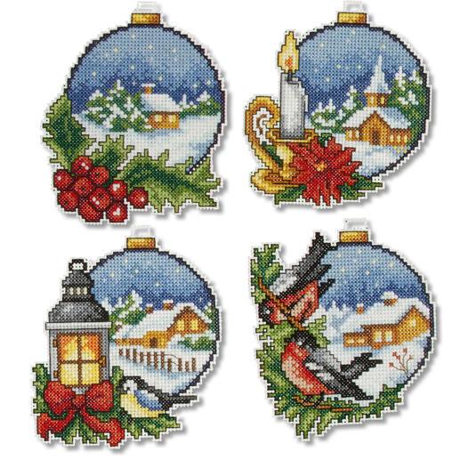 4 Weihnachtsanhänger im Set - Weihnachtskugeln