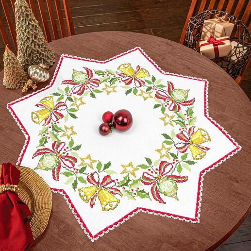 Tischdecke - Sterndecke mit Spitze