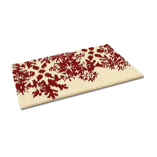Fußmatte - Schneeflocken, rot