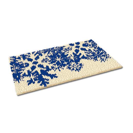 Fußmatte - Schneeflocken, blau